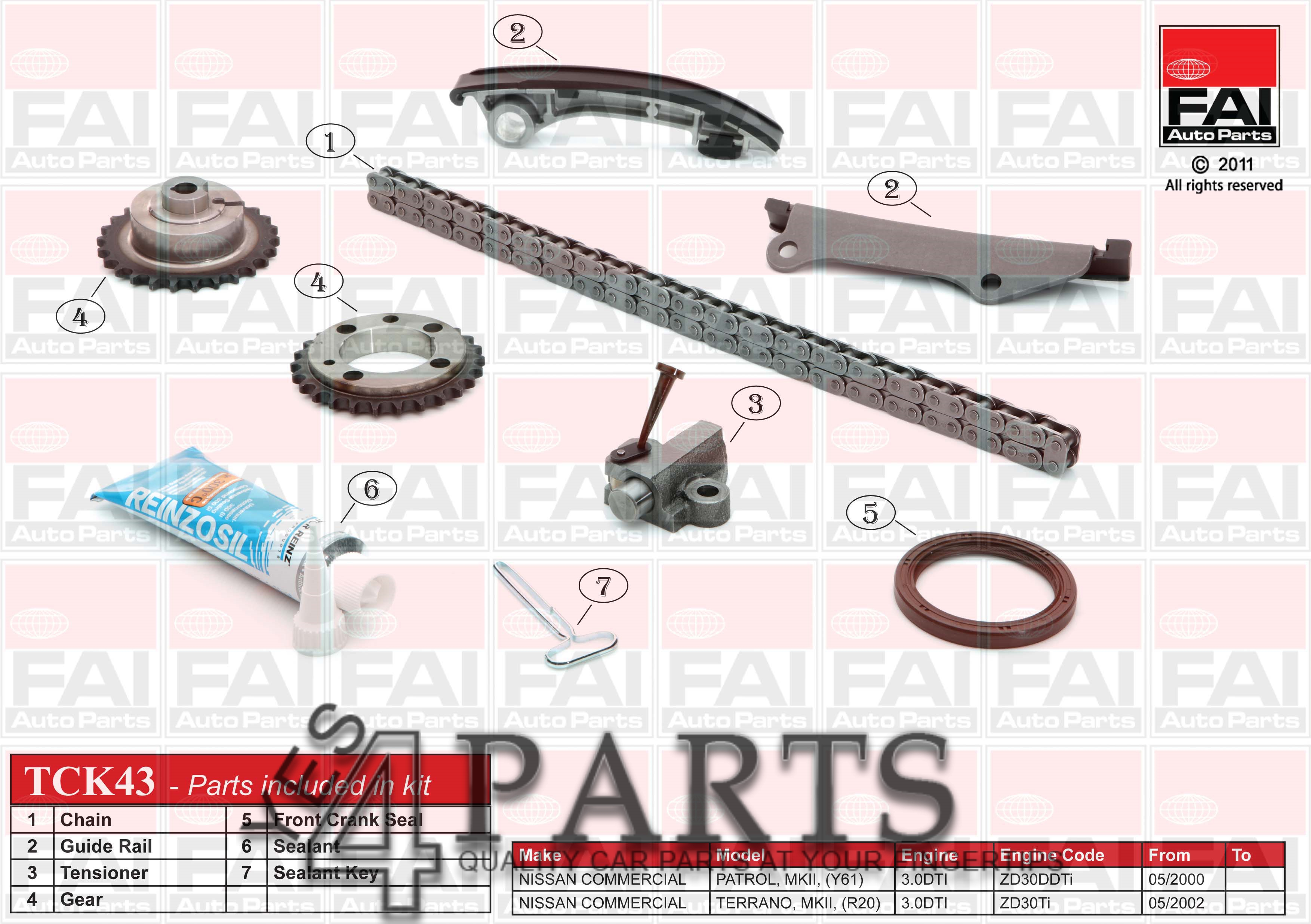 NISSAN PATROL GR Mk II (Y61) 3.0 D Timing Chain Kit